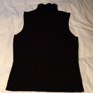 Women's black sleeveless turtle neck